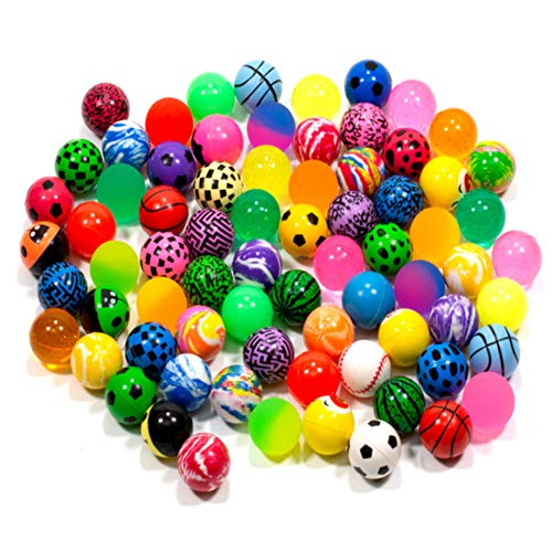 KISEER 50 Pieces Assorted Colorful Bouncy Balls Bulk Mixed Pattern High Bouncing Balls for Kids...