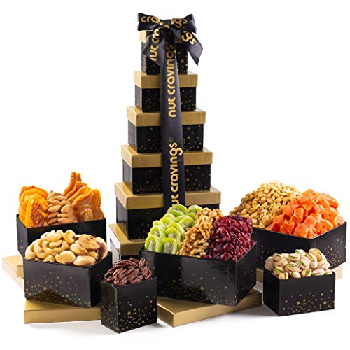 Holiday Nut and Fruit Gift Tower - Gourmet Mix Of 12 Assorted Nuts & Dried Fruits Snacks in Individual Boxes - Large Bulk Variety Basket Set for Christmas, Holiday Prime Delivery Gift Basket