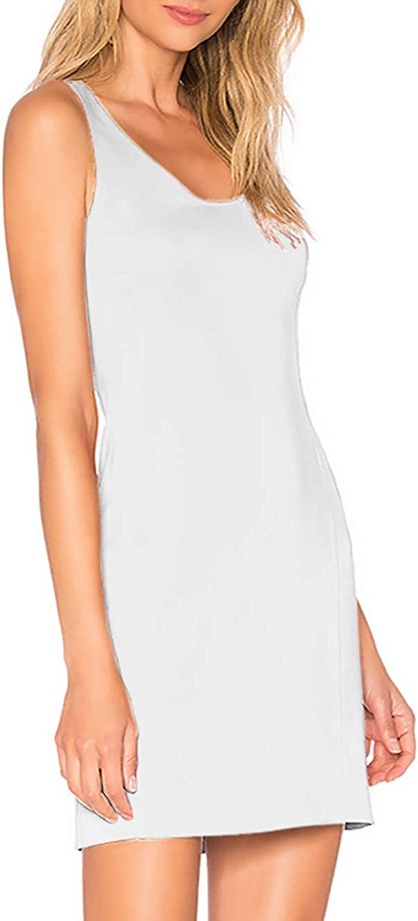 H HIAMIGOS Nightgowns for Women with Built in Bra Removable Pads Nightshirt Dress Sleepwear Sleeveless Nightdress Full Slips