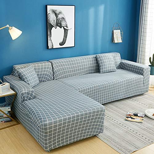 Antideslizante Protector Cubierta de Muebles Fundas de sofá de 4 plazas con Estampado de celosía en Forma de L, Fundas elásticas Antipolvo Protectoras de sofá C 235-300cm 1 PCS