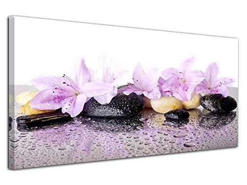 DECLINA Tableau Fleurs et Galet - Impression sur Toile décoration Murale Zen - Déco Maison, Cuisine, Salon, Chambre Adulte - Rose 150x75 cm