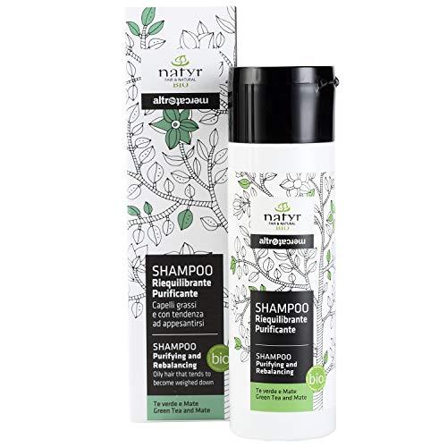 Natyr Bio Pflege Shampoo mit grünem Tee und Mate 200 ml - hilft bei fettigem und strähnigen Haar- ohne Parabene, Silikone und SLS
