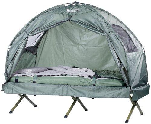 Semptec Urban Survival Technology Feldbett: 4in1-Zelt inklusive Schlafsack, Matratze & Campingliege, wasserdicht (Zelt auf Stelzen)