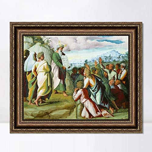 "INVIN ART Framed Canvas Art Giclee Print Series#068 by Raphael/Raffaello Sanzio Wall Art Living Room Home Office Decorations(Vintage Embossed Gold Frame,20""x24"")"