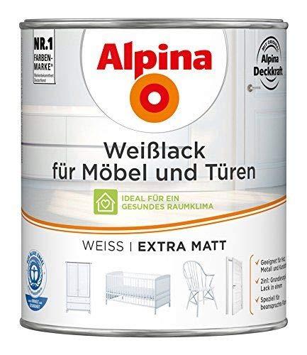 ALPINA Weißlack für Möbel und Türen 750 ml Farbe Weiss Extra Matt