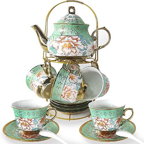DaGiBayCn 20 PCS Tea set Ceramics Tea set Afternoon Tea Set Adult tea set Gift Tea Set Can Drink Coffee Strong Tea green