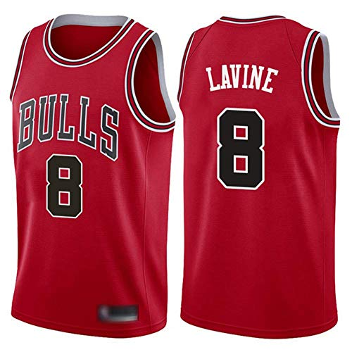 SHR-GCHAO Camiseta Deportiva para Hombre, Camiseta NBA Chicago Bulls # 8 Zach LaVine, Chaleco De Uniformes Transpirables, Ropa Deportiva De Entrenamiento Sin Mangas,Rojo,XL(180~185CM)