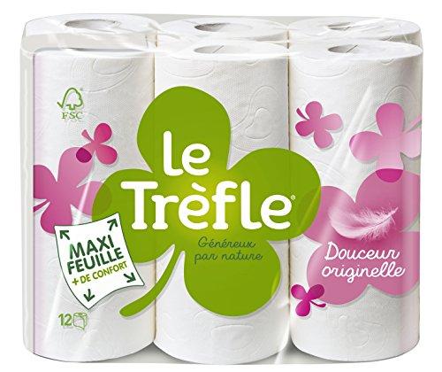 Le TREFLE Toilettenpapier Douceur Ursprüngliche weiß 2-lagig 12Rollen–4Stück
