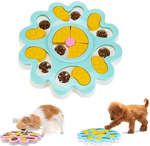 Linseray Dog Puzzle Giocattolo, Interattivo Treat Dispenser Puzzle Dog Toy per Cani Alimentatore Lento Pet Bowl Dog Training Games Feeder con Antiscivolo per Puppy Pet(Blu)