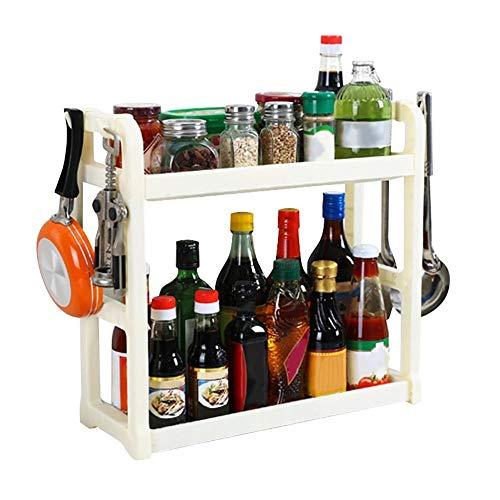 YiXing Estante de cocina multifuncional, accesorios para almacenar botellas, sin sacador, mesa de cocina, estante organizador (color: WH)