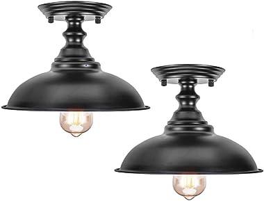 HMVPL Semi Flush Mount Ceiling Lights, Farmhouse Close to Ceiling Lamp Metal Black Pendant Lighting Fixture Industrial Edison