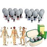 Ventosaterapia, Ventosas de vacío magnético,18pcs / 12pcs / 8pcs gel de sílice succión acupuntura moxibustión cuerpo de masaje para el alivio de dolores musculares (12pcs)