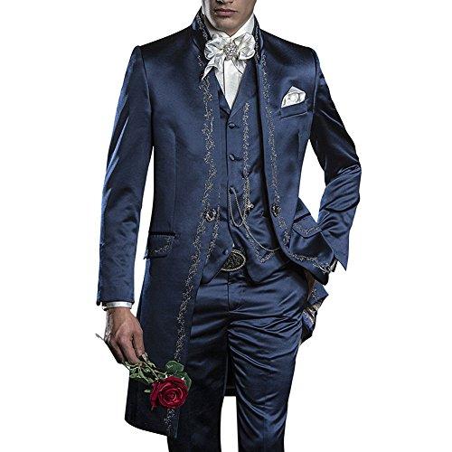 GEORGE BRIDE Herren Anzug 3-Teilig Anzug Sakko,Weste,Anzug Hose,007 (L, Blau)