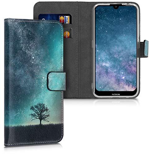 kwmobile Wallet Hülle kompatibel mit Nokia 2.2 - Hülle mit Ständer Kartenfächer Galaxie Baum Wiese Blau Grau Schwarz