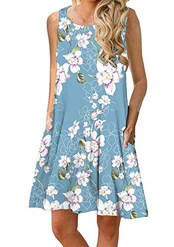 OMZIN Damen Sommer Casual Ärmellos Tunika Tank Kleid mit Taschen Kleid für Damen Oversized Tank Blau XXXL