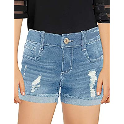 Amazon - Save 40%: luvamia Girls Denim Shorts Frayed Raw Hem Ripped Denim Jean Shorts 4-13 Y…