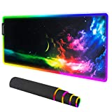 ITech-Phoenix RGB LED Galaxy Space Gaming Mouse Pad - Large Mouse Pad Gaming Mat with Easy to Clean Waterproof Surface - Anti-Slip Rubber Base - 10 Colors & 4 Lighting Modes - 31.5 x11.8 x 0.16 inches