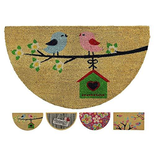LucaHome - Felpudo Coco Natural 40x70 Antideslizante, Felpudo de Coco pajaritos semiluna, Felpudo Absorbente Entrada casa, Ideal para Exterior o Interior