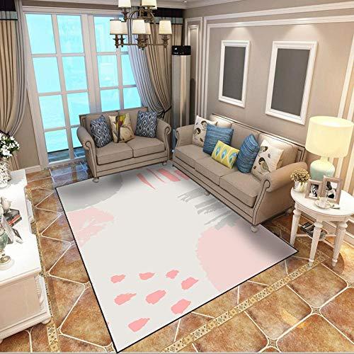 WQ-BBB Teppich Modern Teppich Langlebig Rug waschbar Keine Haare A Bedchamber Rug Abstrakte Grafik beige rosa grau Kinderteppiche 140X200cm
