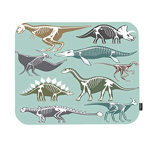 EKOBLA Dinosaurs Mouse Pad Skeletons Silhouettes Fossil Bone Tyrannosaurus Prehistoric Animal Gaming Mouse Mat Non-Slip Rubber Base Thick Mousepad for Laptop Computer PC 9.5x7.9 Inch