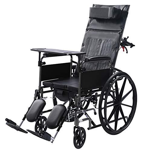 ZXGQF Rollstuhl, Faltrollstuhl, Reiserollstuhl Transportrollstuhl- Pflegerollstuhl mit Liegefunktion,Beinstütze, Kopfstütze, für ältere und behinderte Menschen
