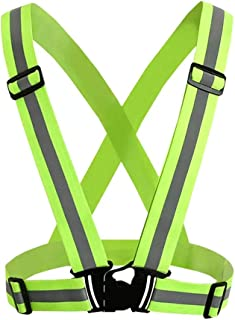 ZEXIN Adjustable Reflective Vest Safety Running Jogging Walking Cycling High Visibility Over Outdoor Clothing(Green)