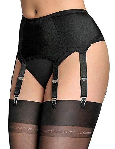 Nylon Dreams NDL2 Damen schwarz Strumpfband Gürtel 6 Gurt Strapsgürtel, schwarz, XL