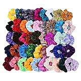 LABIUO 46Pcs Cheveux Velours Élastique Chouchous, Multicolore Cheveux Bandeaux Liens Cordes Queue de Cheval Porte Bandeaux pour Femmes Ou Filles Accessoires de Cheveux(Multicolore,Taille Unique)