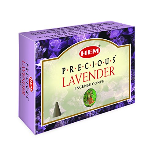 HEM Precious Lavender Incense Cones - Pack of 12 - 120 Count - HEM Incense of India