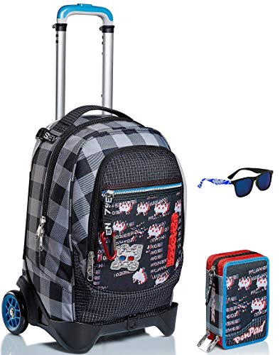 Kit escolar – Trolley Jack 2WD Seven + Estuche Pen Pad + Gafas de sol – Space Check