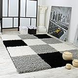 Alfombra Shaggy Pelo Alto Pelo Largo De Cuadros En Gris Negro Blanco, tamaño:160x220 cm