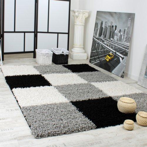 Shaggy Vloerkleed Hoogpolig Lange Pool Patroon In Ruit Grijs Zwart Wit, Maat:160x220 cm
