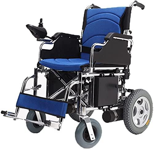 Las sillas de ruedas eléctricas son fáciles de plegar y portátil scooter automático eléctrico para viajes y ancianos portátiles para sillas de ruedas asistidas por discapacidades,Azul