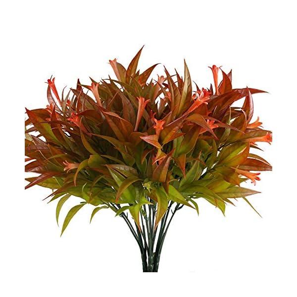 NAHUAA 4pcs Plantas Simulación Plantas de Plástico Plantas de Jardin Ramas Artificiales Rojo Arbustos Exterior Interior…