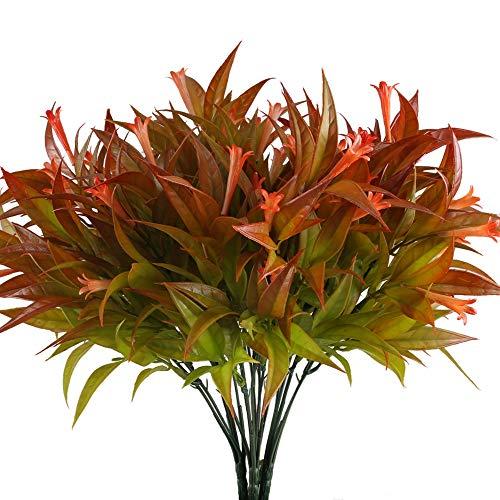 NAHUAA 4pcs Künstliche Pflanze Deko Kunstpflanzen Kunstblumen Plastik Blume Künstliche Grünpflanze Plastikpflanzen für Draußen Frühling Topf Balkon Garten Friedhof Dekoration