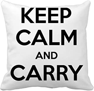 DIYthinker Quote Keep Calm and Carry On Black Throw Pillow Square Cover 16 inch x 16 inch