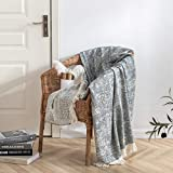 Cotton Knitted Fringed and Striped Throw Blanket with Tassels Cozy Blanket Scarf Shawl Farmhouse Decoration (Navy Blue)