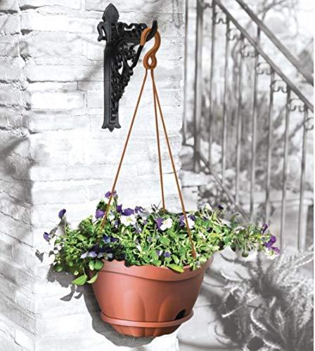 Pflanzenampel Blumenampel Hängeampel mit Kette und Wand Halterung Wasserspeicher Terracotta