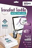 AVERY - Pochette de 15 transferts Tee-Shirt ou textiles blancs ou clairs personnalisables et imprimables, Format A4, Impression laser,