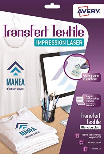 Avery c9403–15papeles transferts camiseta/Textile A4color blanco/claro