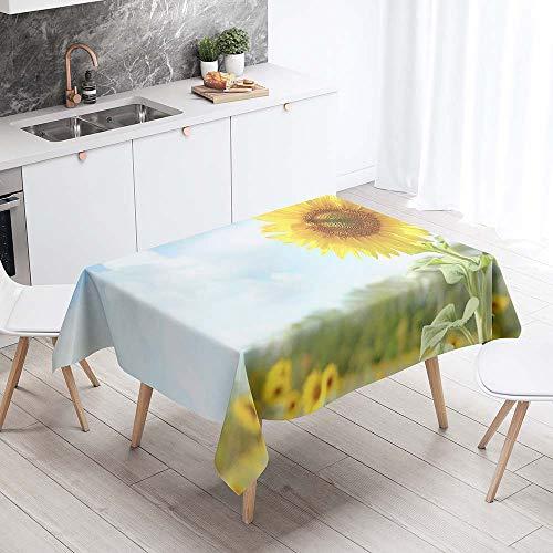 Fansu Tischdecke Wasserdicht Tischwäsche, Rechteckige Wasserabweisend Abwaschbar 3D Sonnenblume Tischtuch Draussen Küchentischabdeckung für Outdoor Garten Küche (Grau Natürlich,140x200cm)