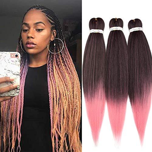 3 Pieces Mèches Pour Tresses Extension de Cheveux Pré-tressé Professionnel Itch Free EZ Braiding Hair Ombre 26 Pouces, Noir Naturel & Rose