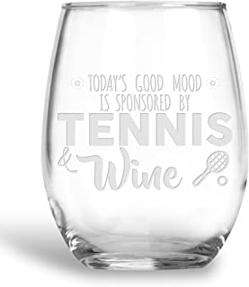 BadBananas Today's Good Mood Is Sponsored By - Tennis and Wine - 21 oz Stemless Wine Glass with Etched Coaster - Funny Tennis Gifts