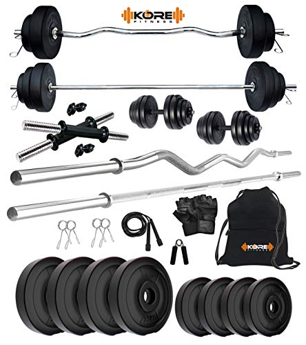 Kore PVC 14 Kg Combo 343 Home Gym Set with Gym Accessories