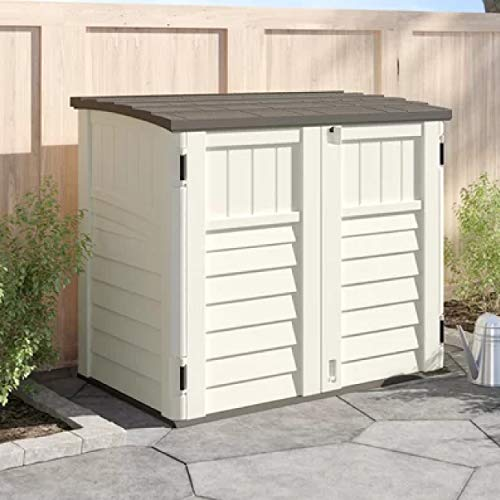 Horizontal Outdoor Storage Shed Weather Resistance Multi-Purpose Double Door Storage Box All-Weather Resin Hinged Lid Reinforced Floor for Trash Cans & Yard Tools - Vanilla & Stone by Michael Trunnell