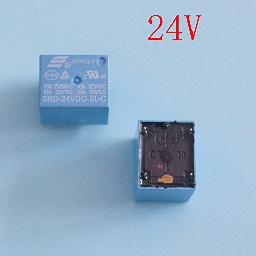 SONGLE 24V DC SPDT Potencia relé SRD-24VDC-SL-C AK Pack de 5