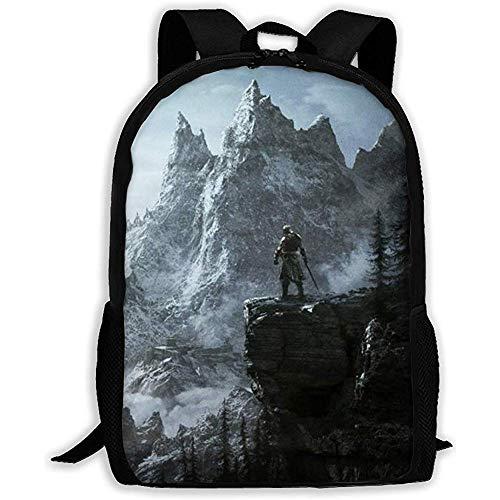 Personalisierter,großer Rucksack leichter Rucksack Männer/Frauen,lässige Schultasche,Outdoor-Umhängetasche Skyrim Mountain Anti Theft,verstellbarer Oxford Daypack,passend für Laptop,Reisetasche,Colleg