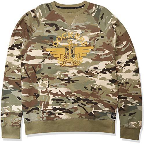 Dockers Men's Long Sleeve Crewneck Sweater, Camo - Alpha, Large