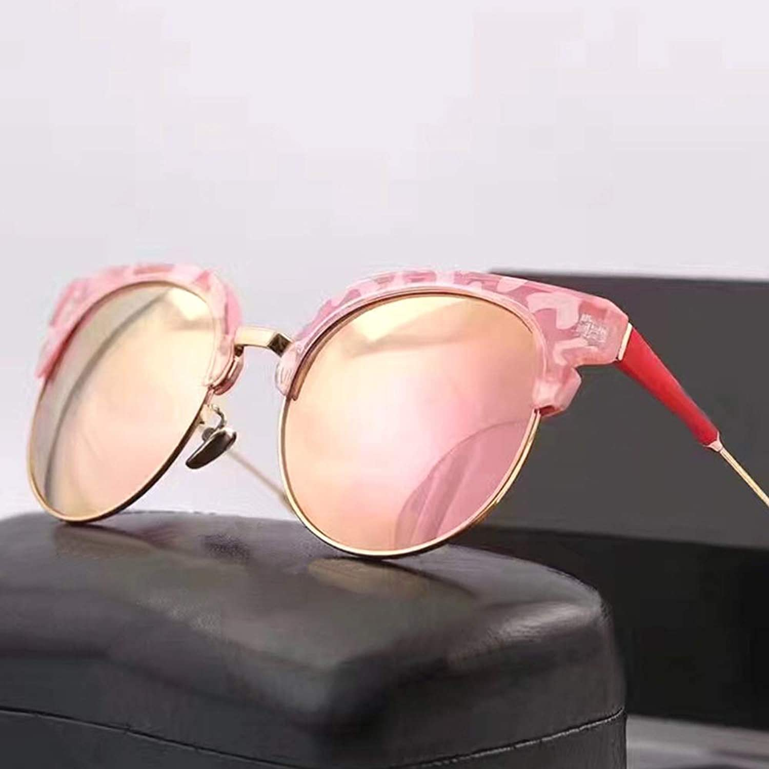 Classic Retro Metal Polarized Sunglasses for Women, UV 400 Lens Predection Sunglasses (color   Pink)