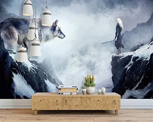 WWMJBH Tapijt, zelfklevend, motief: olieverfschilderij, dieren, wolf, karakter, wandschilderij, behang, woonkamer, slaapkamer, sofa, 3D, wandkunst, ruimte, woonkamer, tv, achtergrond, behang, decoratie 200x150 cm (BxH) 4 Streifen - selbstklebend